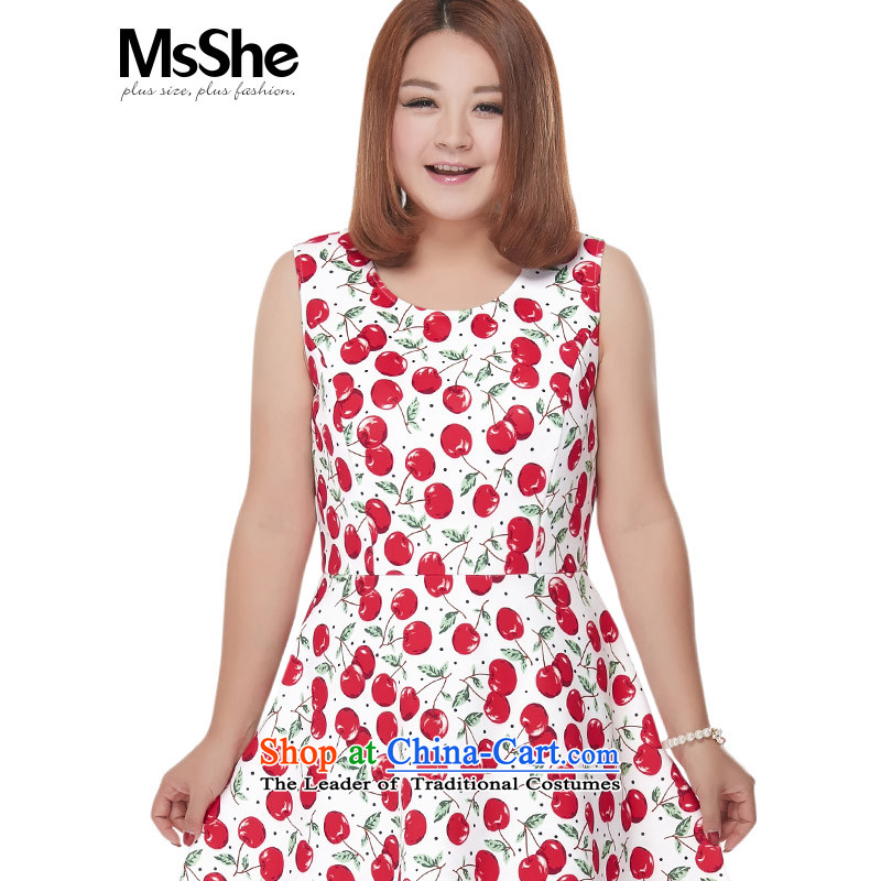 Msshe xl women 2015 new fall inside cherry stamp Sau San vest dresses 2651 white cherry�L