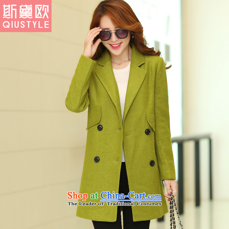 The Doi OSCE gross? 2015 autumn and winter coats female new larger female Korean version in the Sau San long wool coat 5165? yellow green XL