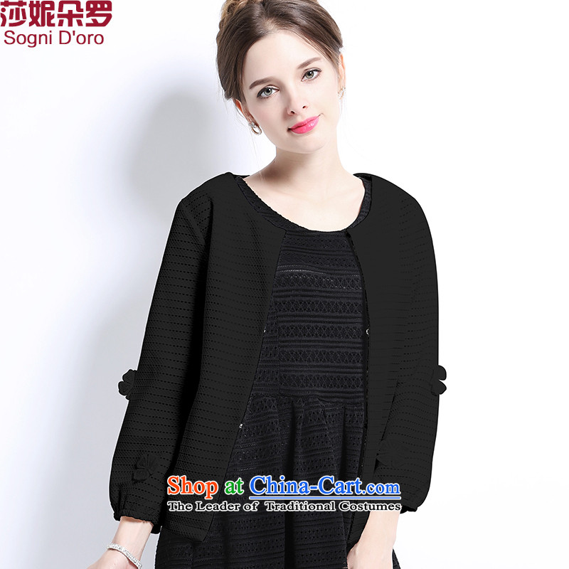 Luo Shani flower code聽200 catties jacket female thick mm fall to replace xl thick people wild video thin, thick sister cardigan聽6XL- autumn 2698 black graphics thin Cardigan