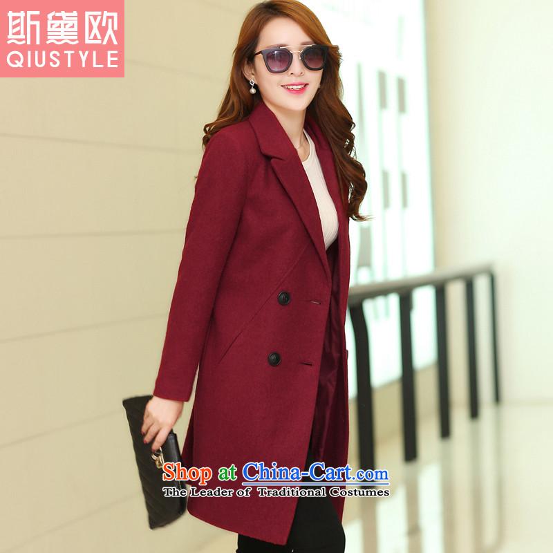 The Doi OSCE gross?2015 autumn and winter coats female new Korean large Sau San Mao jacket women in this long 5163 wine redXL