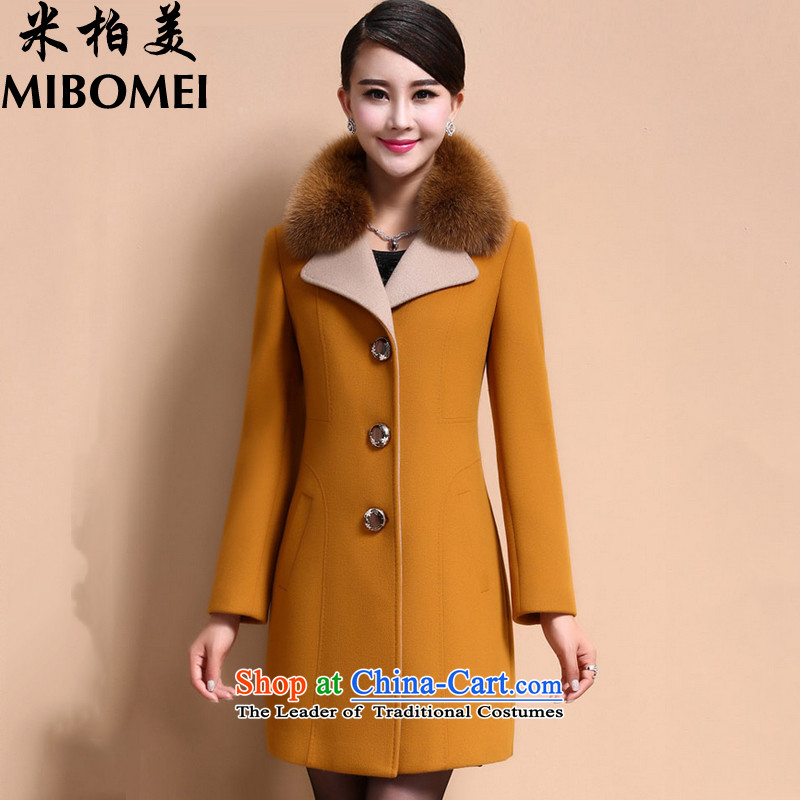M bogey American 2015 autumn and winter coats a new large thick hair? coats female yellow燣