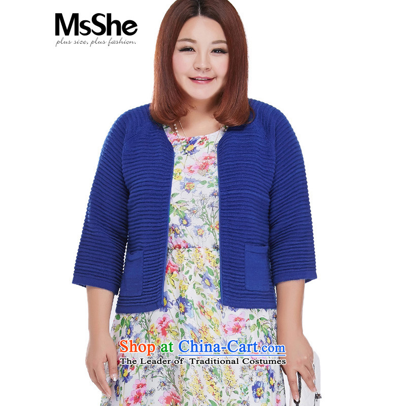 Large msshe women 2015 new fall thick MM knitting cardigan Fleece Jacket 7 4,586 royal blue?2XL cuffs