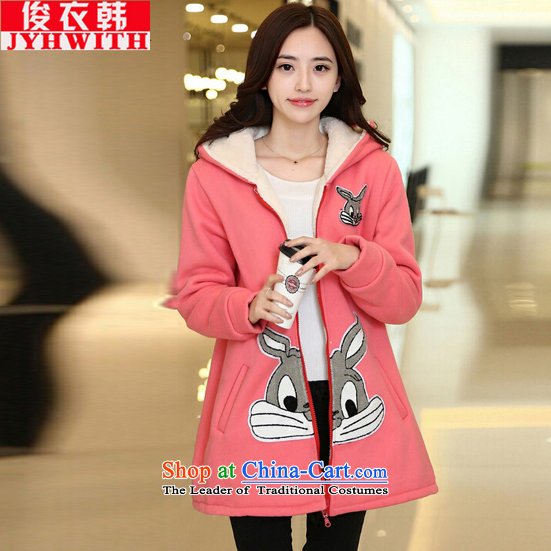Mr James TIEN Yi Won extra cotton coat in long to increase the number of female clothes 200 catties ãþòâ female thick Tien larger thick girls' Graphics thin, Choo replacing Tatu Women 8821) rabbit peach XXXL suitable for 165 to 200 catties of Fat Fat