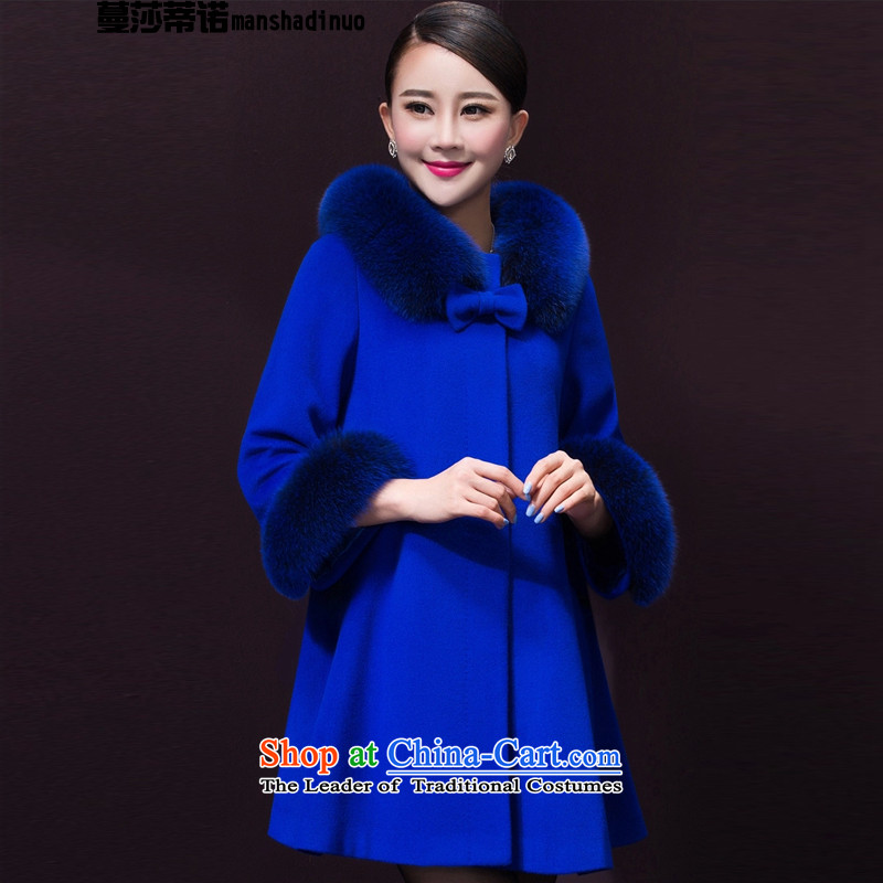 Elizabeth Overgrown Tomb, larger women fall_winter collections to intensify the Korean version of the new 2015 loose cloak? In long coats Gross Gross female blue coat?�L