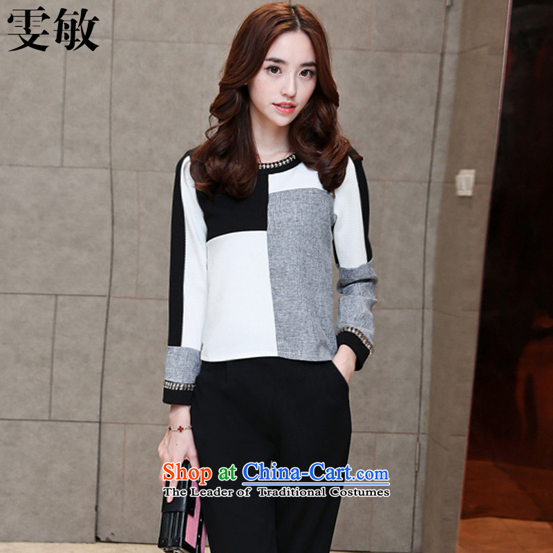 Wen Min 2015 Autumn new boxed kit Korean Version to intensify the shirt trousers thick sister video large thin women 942 picture color XXXL female