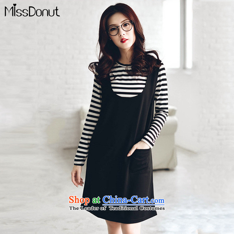To increase the number missdonut women fall thick sister video thin mounted, Korean thick mm stripe t-shirt vest dresses 200 catties king black kit for larger XXL recommended cost between HKD150-170 catty