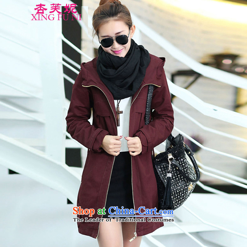 All large Daphne women to increase load autumn mother loaded thick sister who fall inside the video thin, thick hair? jacket female wine red燲XXXL155 catty - 170 catties