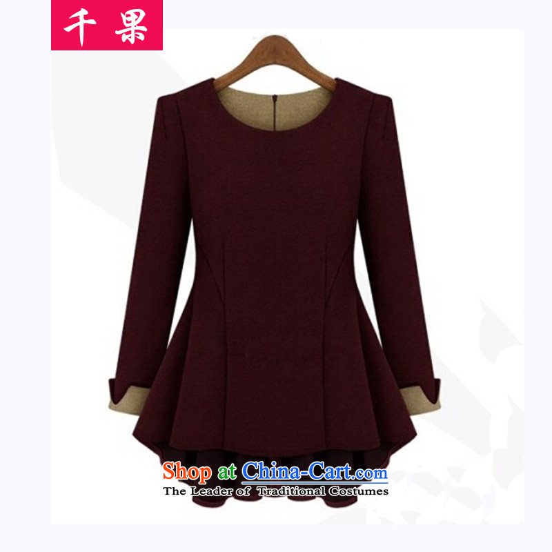 The results of the women's extra load autumn large long-sleeved new thick sister loose video thin t-shirt female thick mm to increase the number of Sau San, forming the basis of the Netherlands�L but Seoulites have taken wine red
