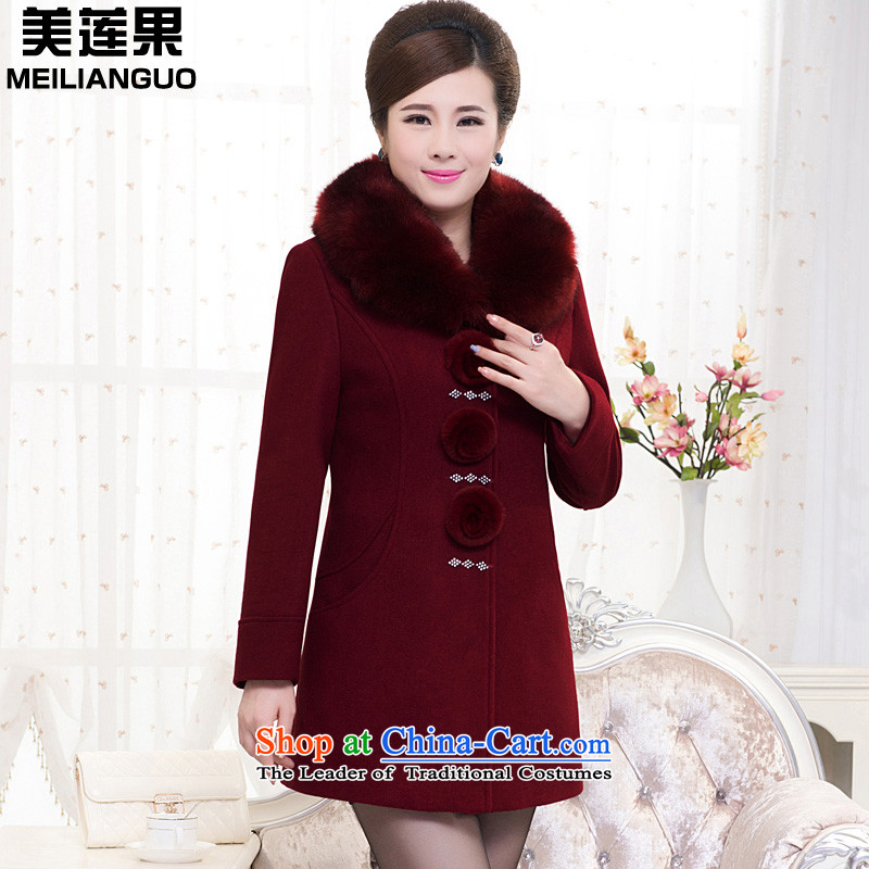Mei-lin guo 2015 autumn and winter in the new large older women in a coat of thick wool is warm Sau San coats of Lai Hung燲XXXXL 811