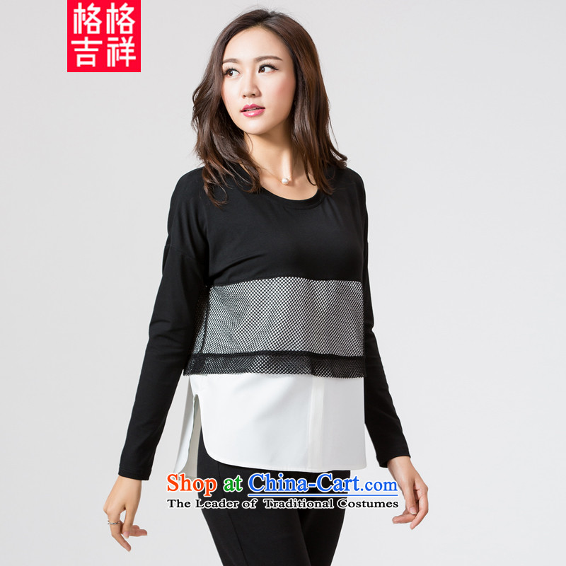 The interpolator auspicious爐o Korean 2015 XL female thick mm autumn replacing the new color stitching relaxd knocked long-sleeved T-shirt, black-and-white color spell checker shirt K5669�L