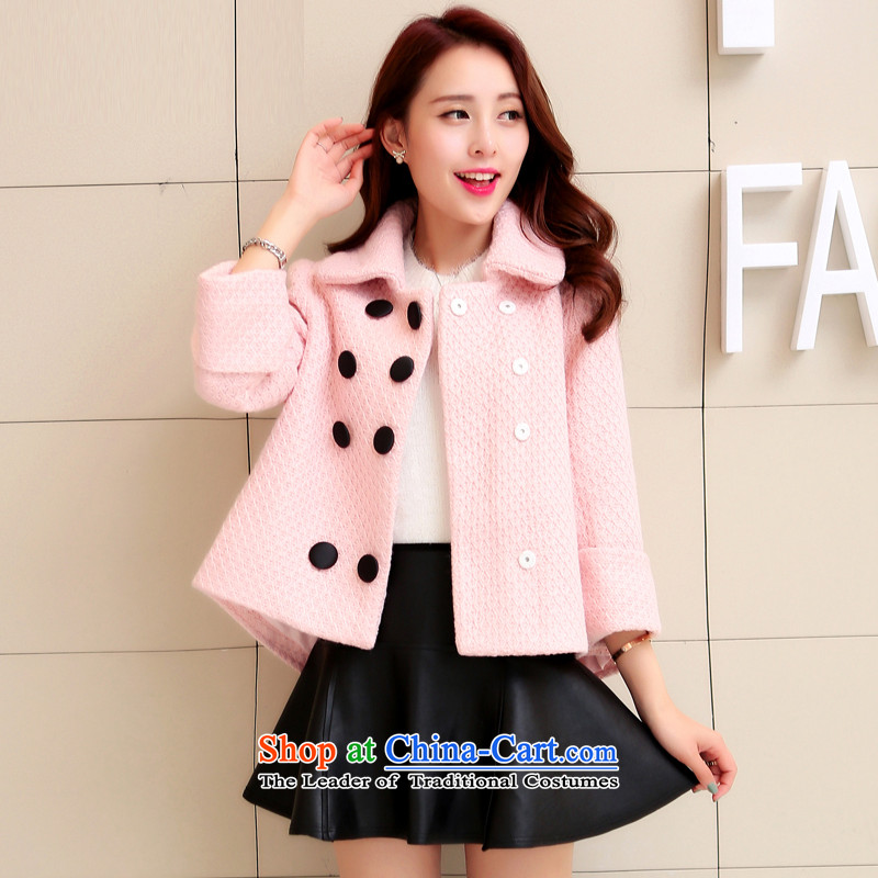 Sin has been gross shortage of female jacket? 2015 Fall_Winter Collections new Korean Sau San, temperament and elegant small incense wind a wool coat pink� L