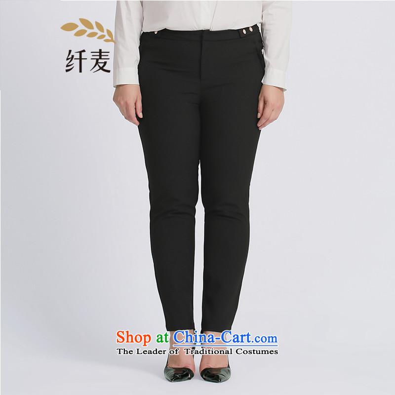 The former Yugoslavia Migdal Code women 2015 Autumn replacing the new fat mm Sleek and versatile black-green, blue casual pants燽lack�L 953091860
