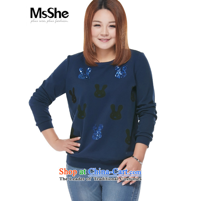 Msshe xl women 2015 new fall inside the trendy long-sleeved sweater lovely round-neck collar T-shirt pre-sale 2,939 Blue 3XL- pre-sale to arrive at 12.10