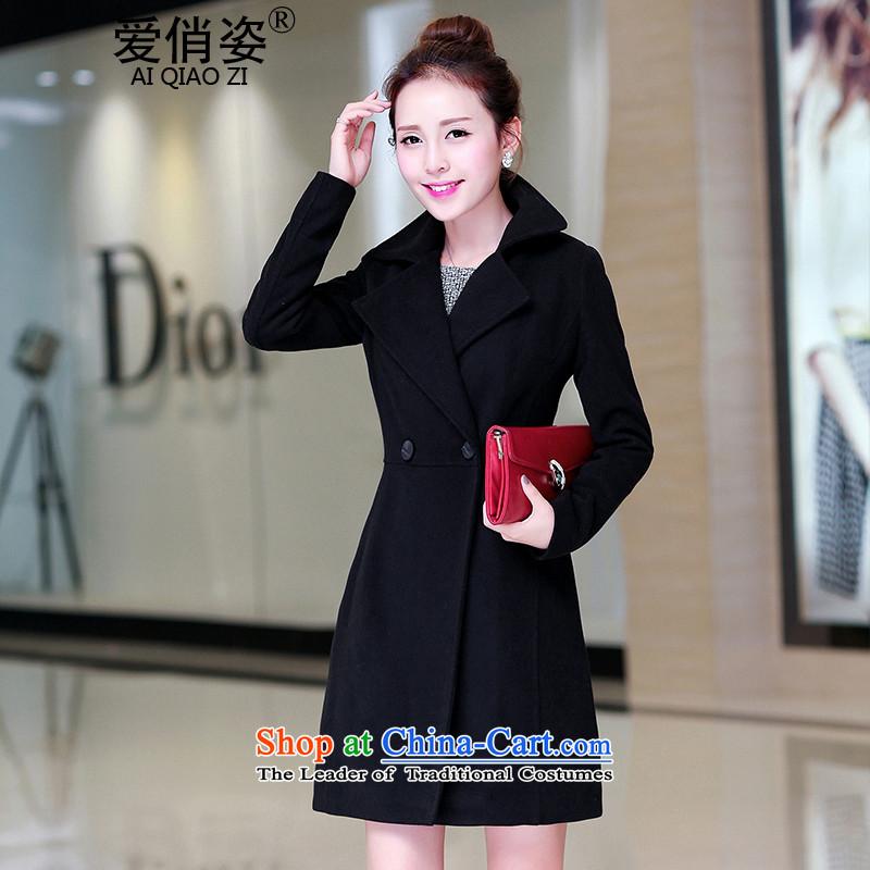 Love is the爁all of 2015 New Gigi Lai lady? Jacket Korean Gross Stylish coat in gross? Ms. Long Sau San temperament gross? overcoat black燣