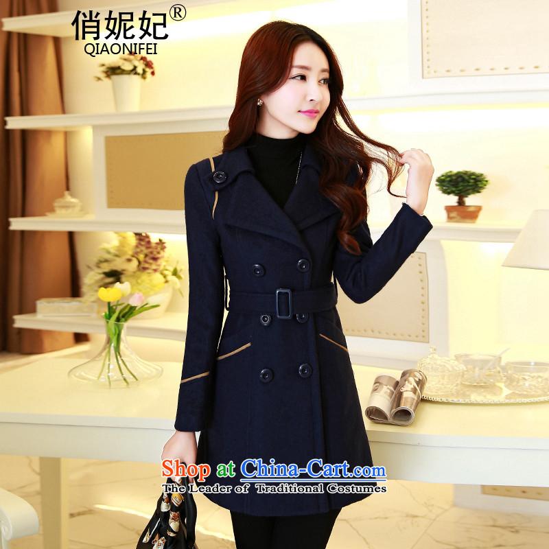 For the�15 Autumn Princess Anne new ladies hair? Jacket Korean Stylish coat in gross? Ms. Long Sau San temperament gross? overcoat navy燲XL