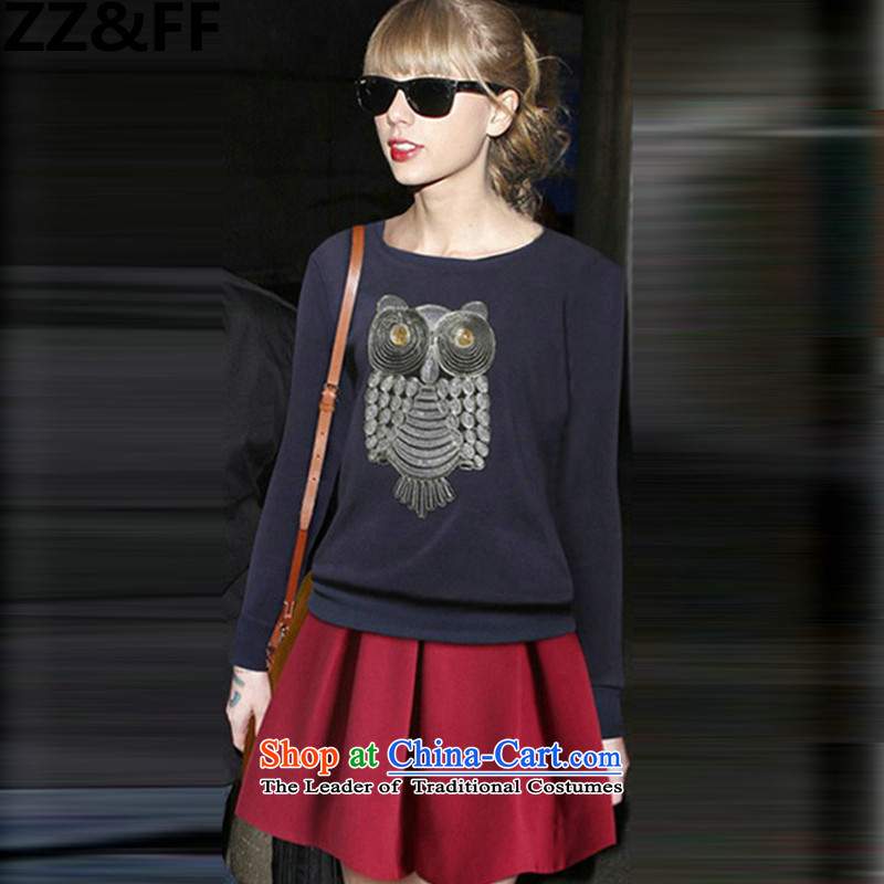 The new 2015 Zz_ff autumn and winter large female thick MM owl knitting, forming the shirt + Ni-short skirt kit two kits dark blue shirt + wine red short skirts燲XXL_ recommendations 140-160 characters catties_
