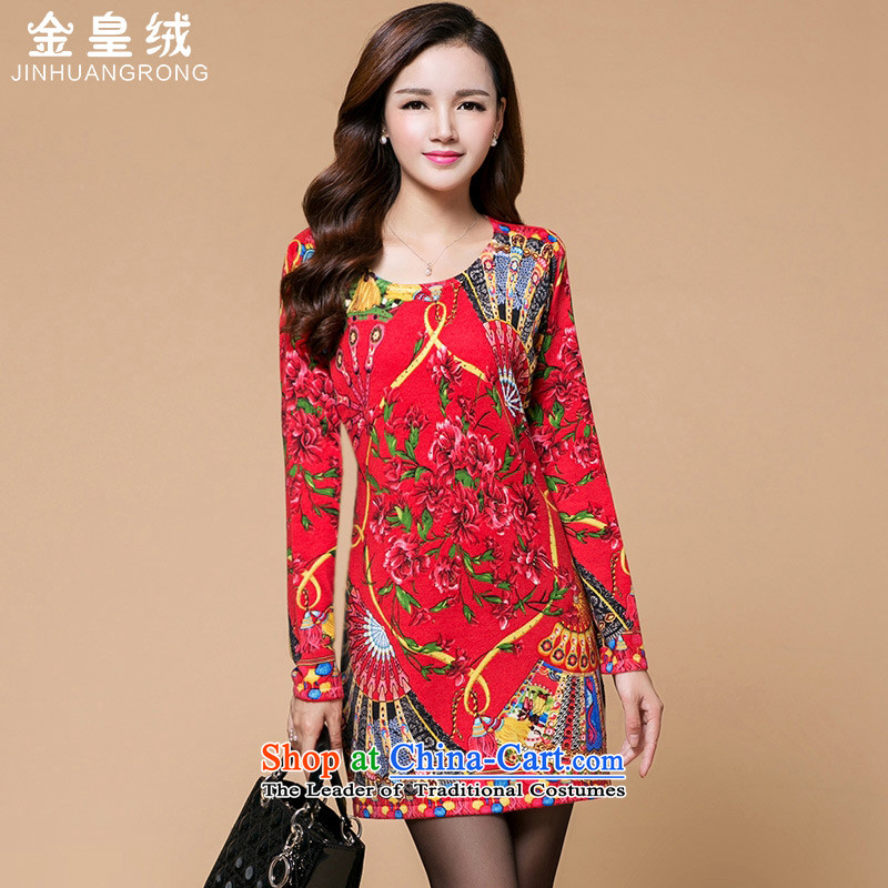 Jinhuang lint-free fall and winter 2015 new women's ethnic woolen sweater dresses in loose long Korean sweater skirt RED M