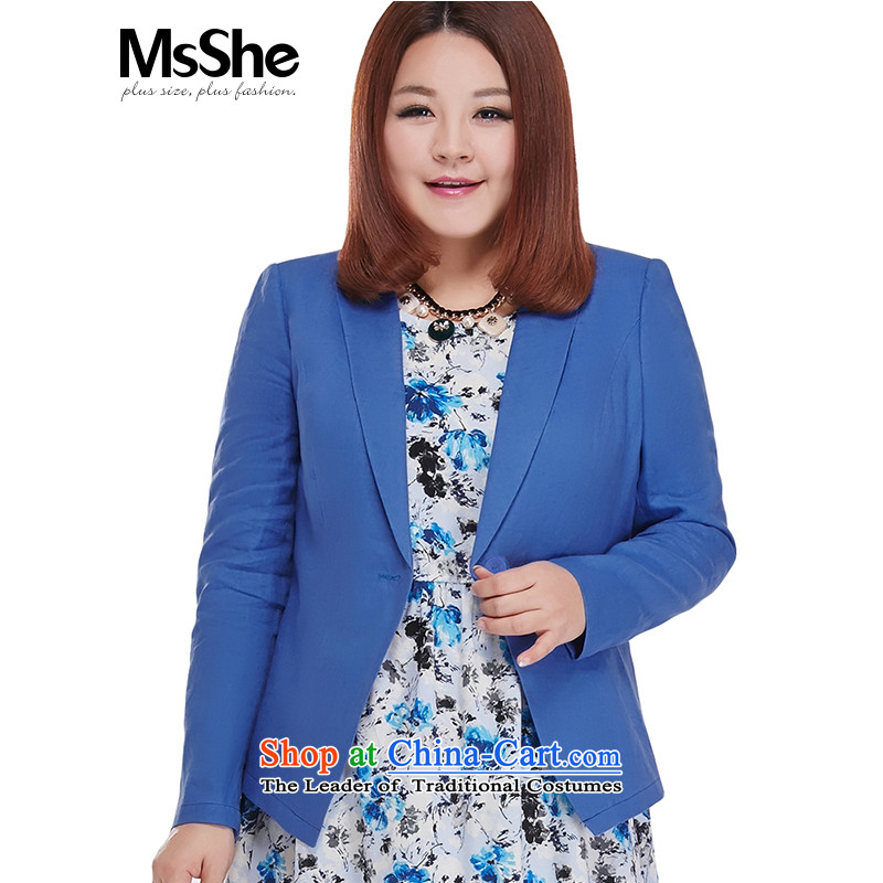 Msshe xl women 2015 new fall thick MM long-sleeved linen with small Jacket Color Blue 5XL bought 8,489