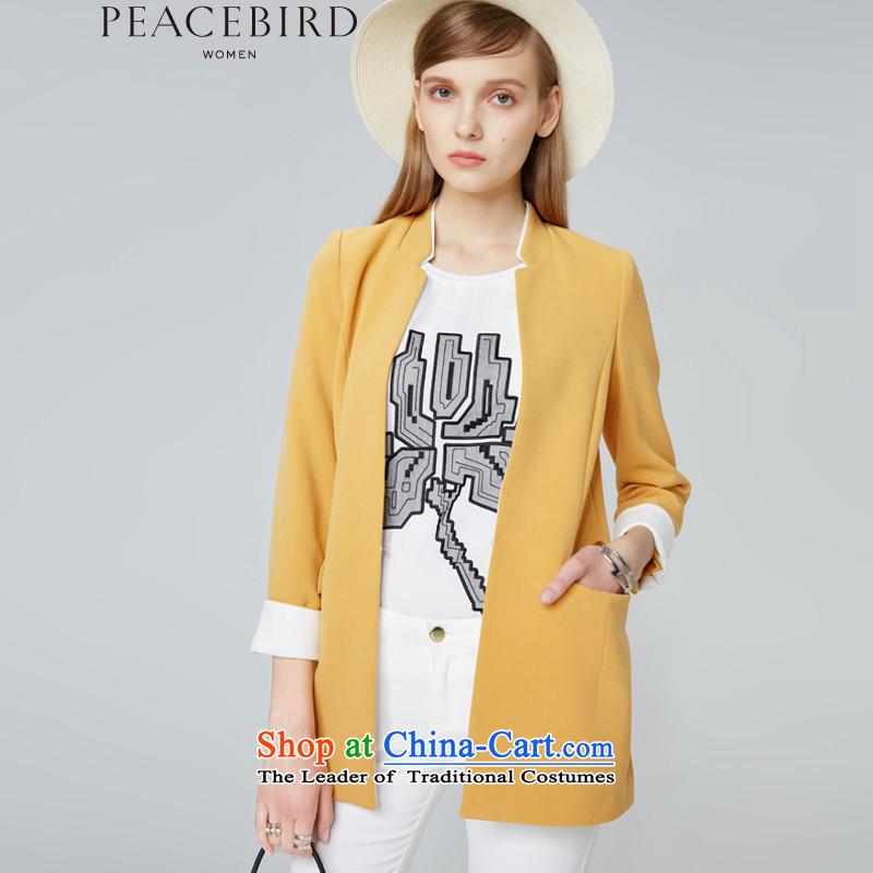 Women peacebird autumn 2015 new products collar long coats A1BB43405 YELLOW燣
