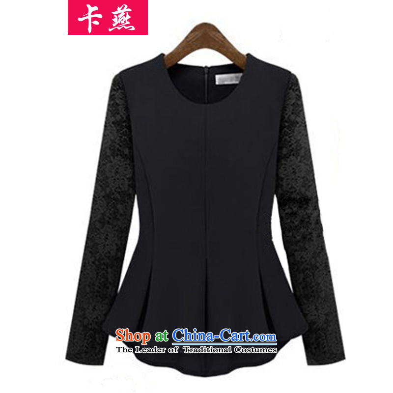 Card Yin New_ Autumn 2015, larger women to increase expertise mm long-sleeved billowy flounces petticoats lace shirt, forming the thin shirt Sau San video 060 Black 5XL