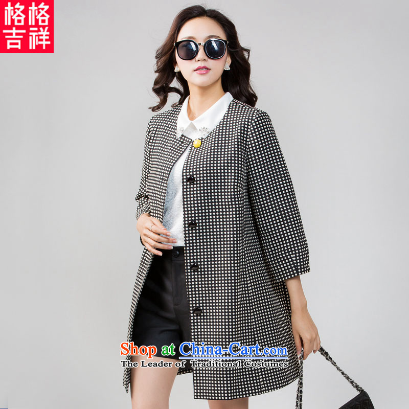 The interpolator auspicious?2015 to increase the number of women with thick mm autumn replacing new jacquard wave point 7 to the cuff, long very casual jacket coat 5605 Black?3XL