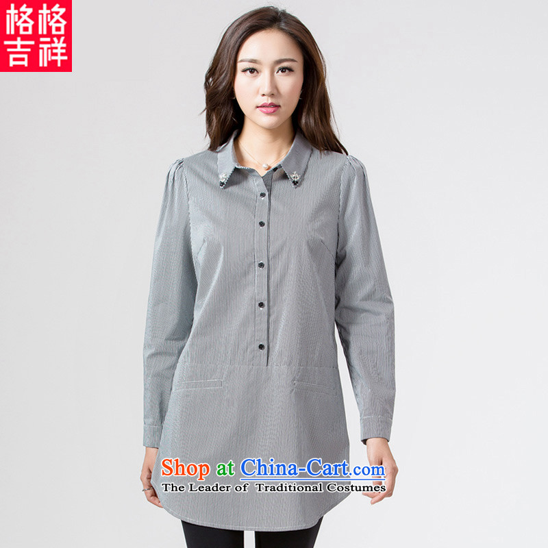 The interpolator auspicious聽2015 to increase the number of women with thick mm autumn new_ long vertical streaks long-sleeved shirt K5626 Sau San pure cotton聽3XL streaked with black聽spot new