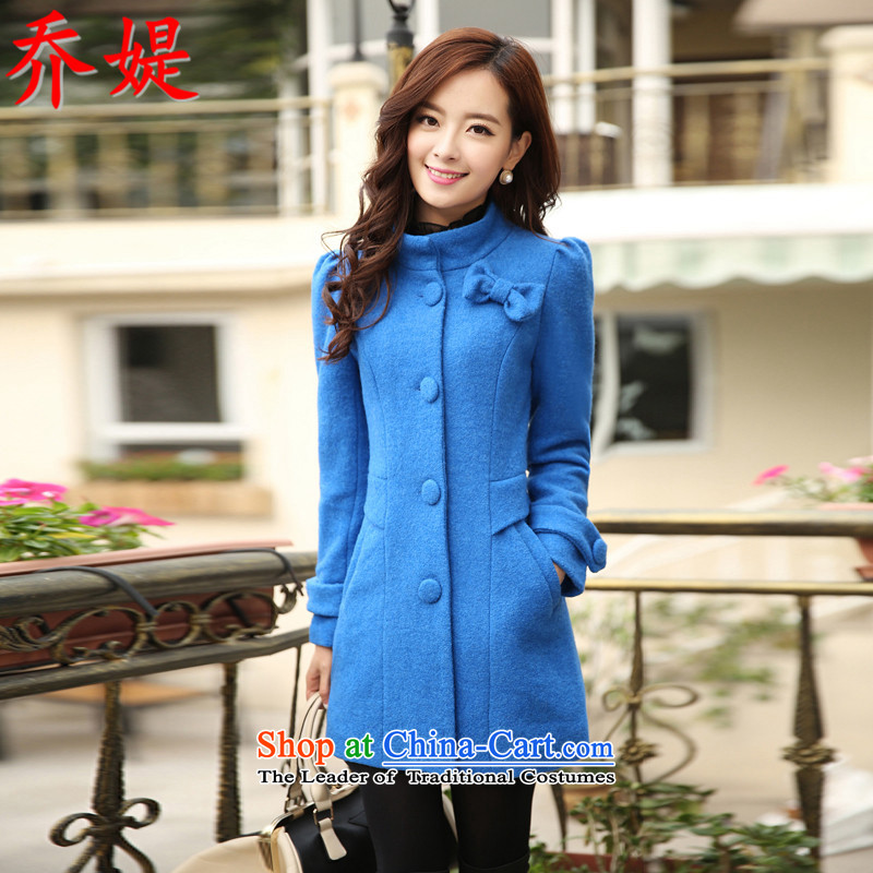 Joe in the straitjacket of autumn and winter 2015 new Korean fashion sweet women wear bow tie a overcoat collar Sau San? female winter coats gross Lake, L