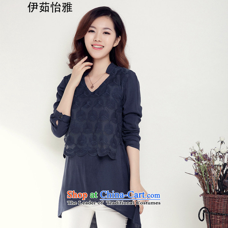 El-ju�15 Autumn Yee Nga new_ in MM thick long large long-sleeved blouses and lace forming the Netherlands YY9885 BLUE燲XL