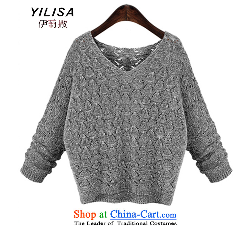 Elizabeth to sub-XL women new autumn knitted shirts thick mm Mount loose video thin autumn engraving leisure Sweater Knit-to-thick sister Y5977 picture color聽4XL