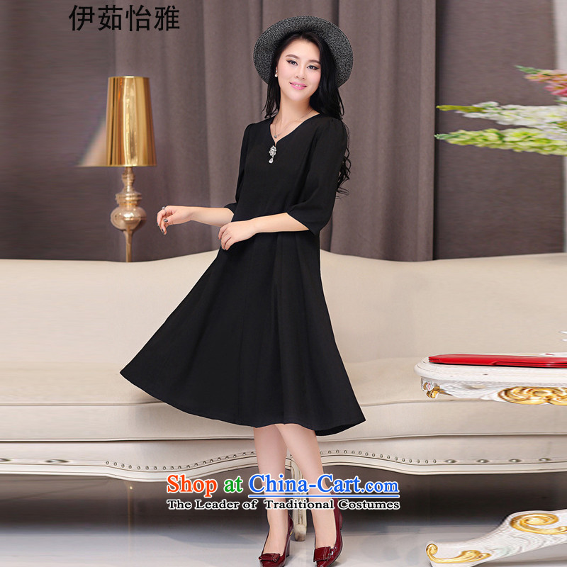 El-ju?2015 Autumn Yee Nga new high-code women_ to intensify the skirt?RN9565??XXXXL black