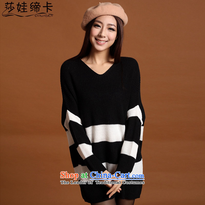 Elisabeth wa concluded in women Knitted Shirt card long stripe thick girls' Graphics thin, Choo replacing thick sister to increase women's winter thick mm Korean King Tien code on thick black and white are code under� to 180 catties can wear