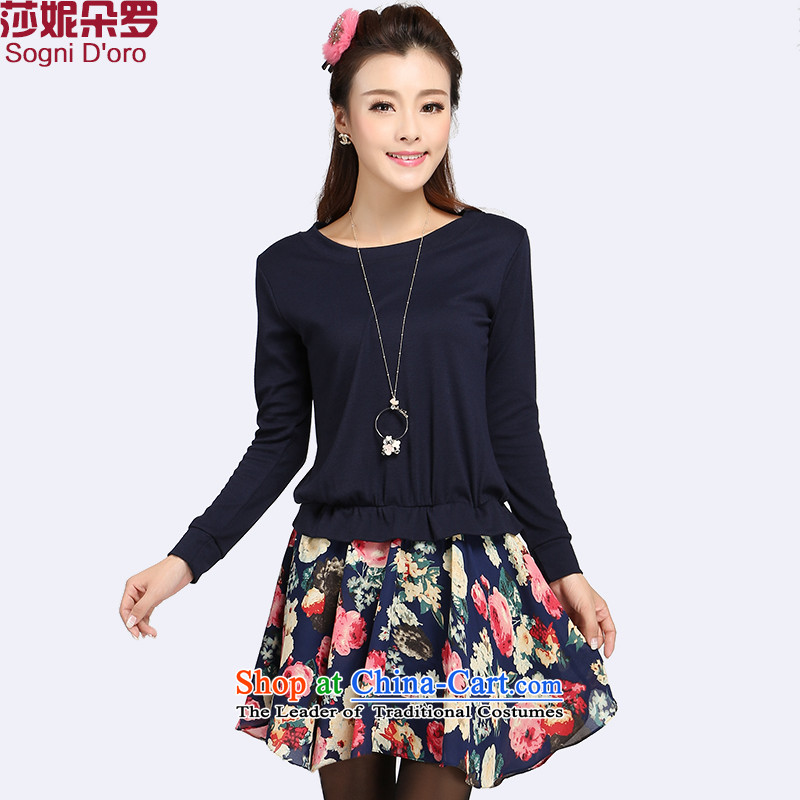 Luo Shani flower code women fall聽catty to 200XL Korean thick mm loose thick girls' Graphics, 8741 Thin Dark Blue聽3XL- Foutune of video, Thin
