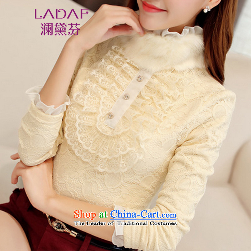 The World 2015 autumn and winter fun Doi new Korean Antique Lace wild forming the Netherlands high collar rabbit hair for the warm clothes 9829 lint-free almond  L
