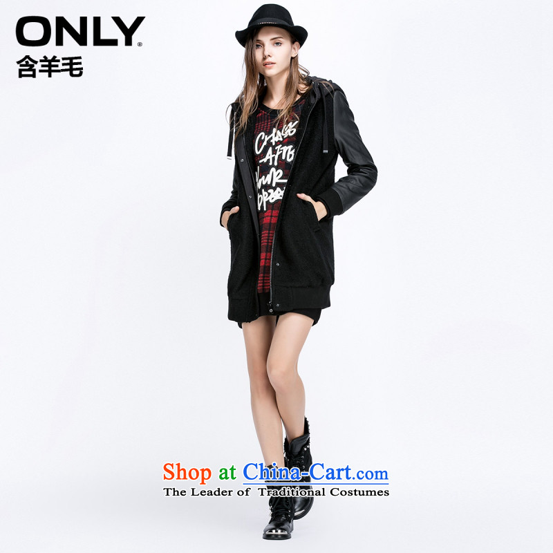 Load New autumn ONLY2015 included wool PU Series Cap Jacket coat spell T|11536t002 010 Black?160_80A_S female