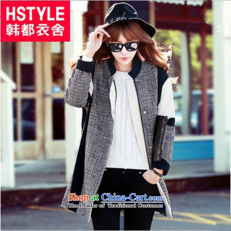Korea has the Korean version of the Dag Hammarskjöld yi 2015 winter clothing new female stitching grid l gross human gray jacket TK4472?S