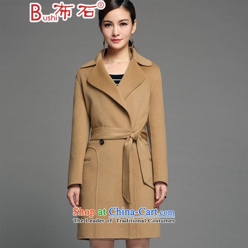 The 2015 autumn the new stone of Pure wool woolen fabric coats manual two-sided female double-medium to long term gross jacket and color L?