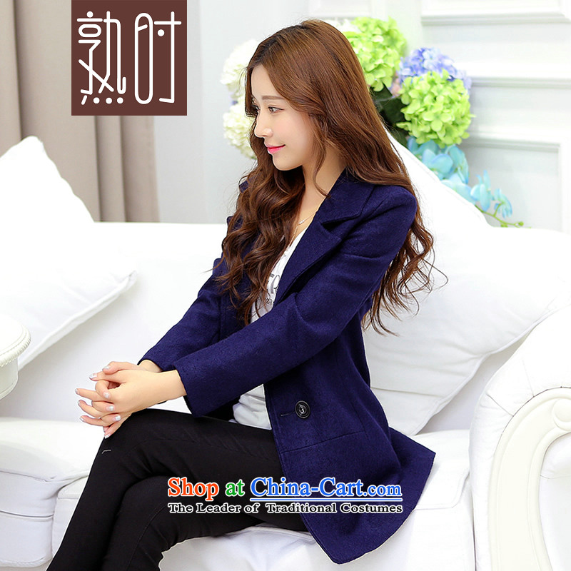 When the new 2015 Autumn cooked for women Korean winter coats that long hair? What gross jacket female navy blue XL