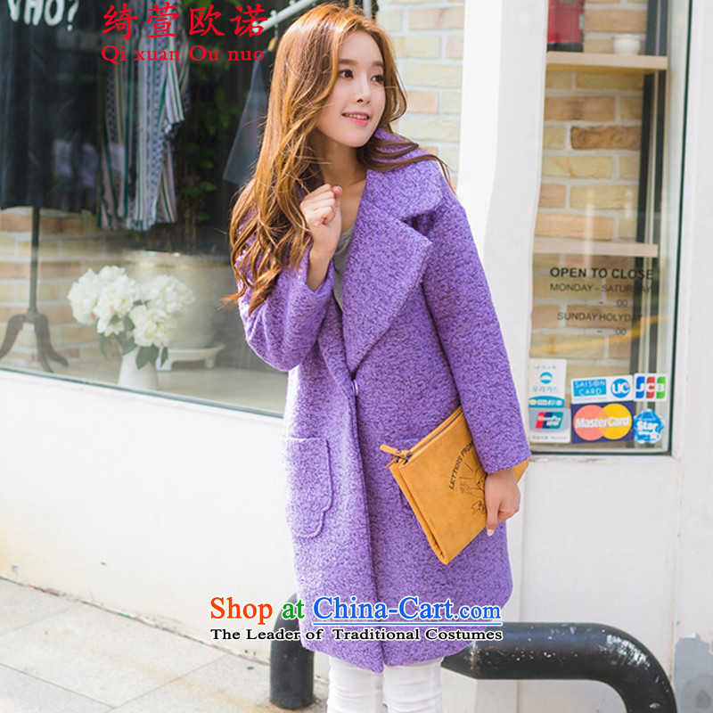 By 2015, the cross-hsuan new women in Korean long suit Neck Jacket coat female violet gross?. XL