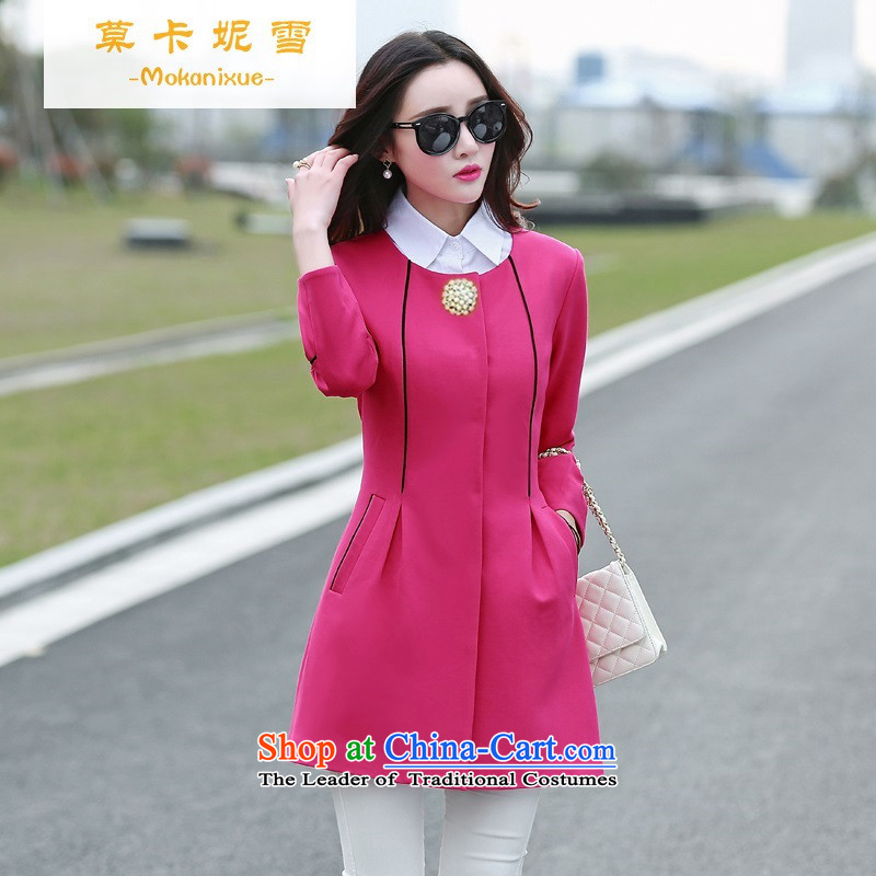 Morcar Connie snow wind jacket clothes with Korean autumn 2015 new leisure. Long single row detained women Sau San Air Yi Code Red燲L