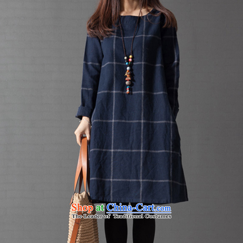 Create the  2015 autumn billion new Korean version of large numbers of ladies loose video thin temperament long-sleeved grid cotton linen dresses blue XXL