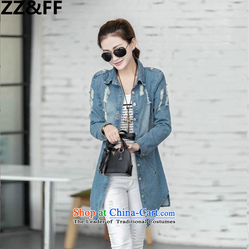 The new 2015 Zz_ff autumn and winter large decorated in video thin female 200 MM in thick long catty, denim jacket coat picture color燲XL_ recommendations 120-140 catties_