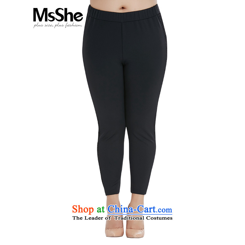 To increase the number msshe women 2015 new fall inside a score of 9 elastic Thick coated trousers 10486 sister black燭4