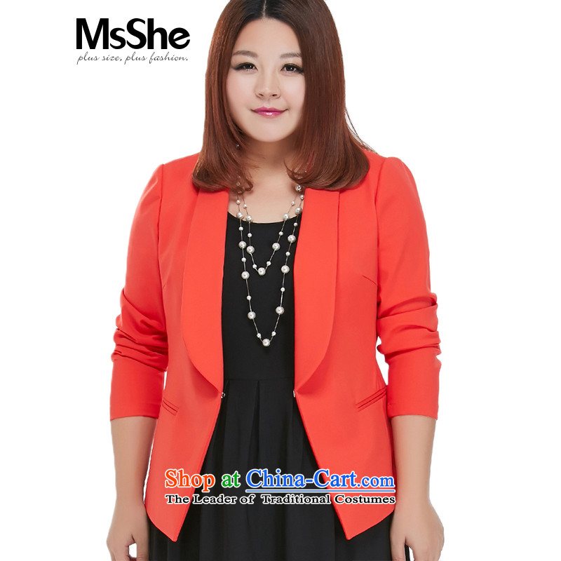 Msshe xl women 2015 new autumn replacing thick sister minimalist lapel small red  5XL 10821 Jacket