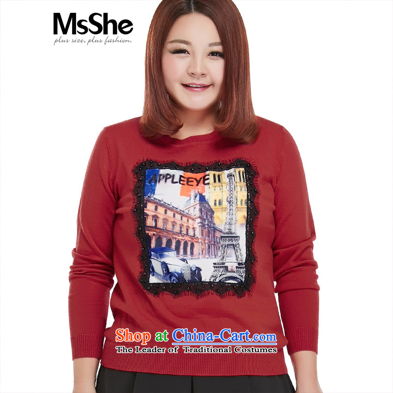 Msshe xl women 2015 new thick sister autumn replacing lace decals sweater pullovers 8,613 large red?4XL