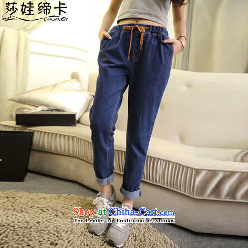 Elisabeth wa concluded card thick sister fall inside the new fat women 200 Jin Mei to increase female jeans elastic waist elastic thick girls' Graphics thin, loose jeans female blue燲XL