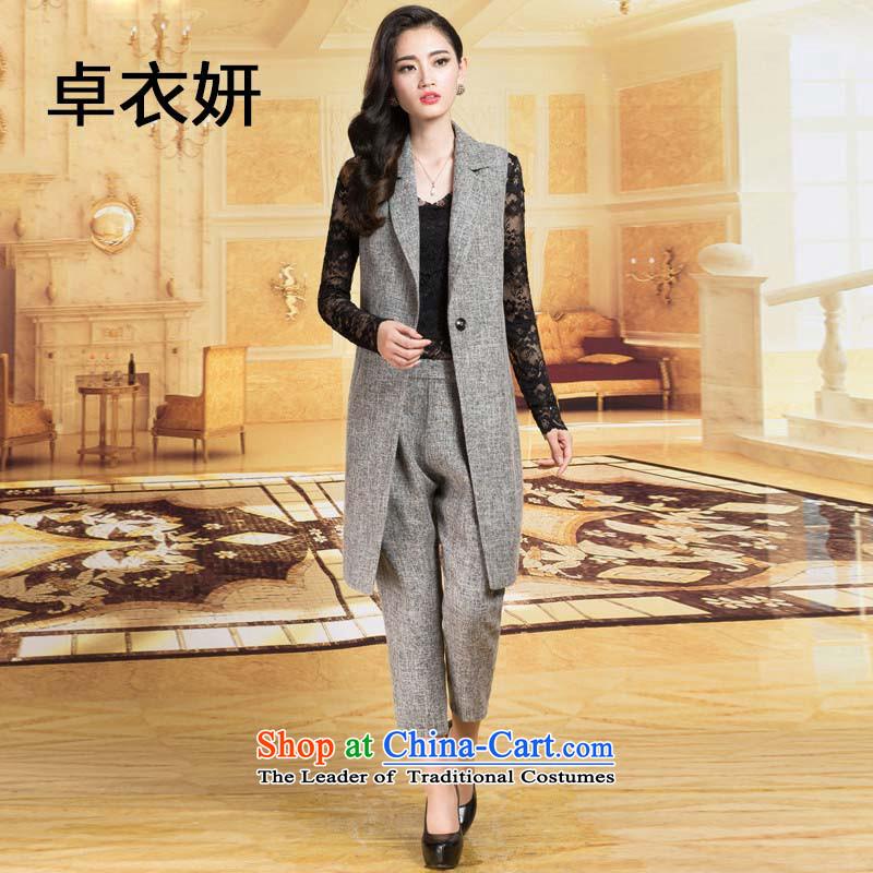 Female 1325#2015 early autumn OL temperament female pure color kit two elegant dark grayXL