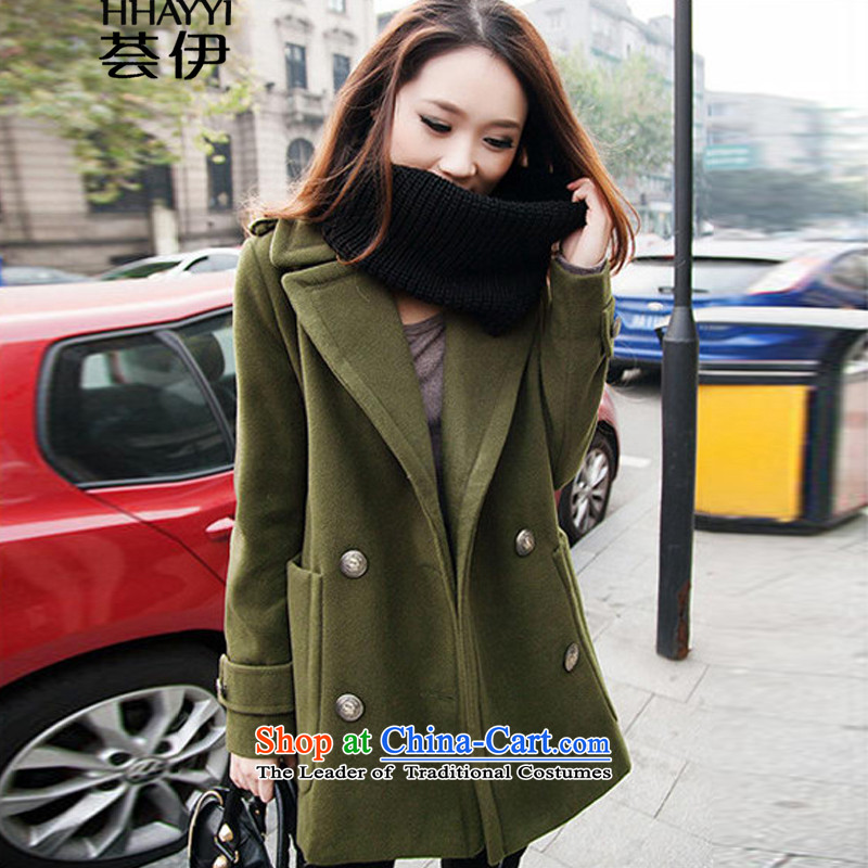 Aloe vera, 2015 Large Women Fall_Winter Collections thick MM to intensify the thick hair? overcoat HY1284 Army Green�L
