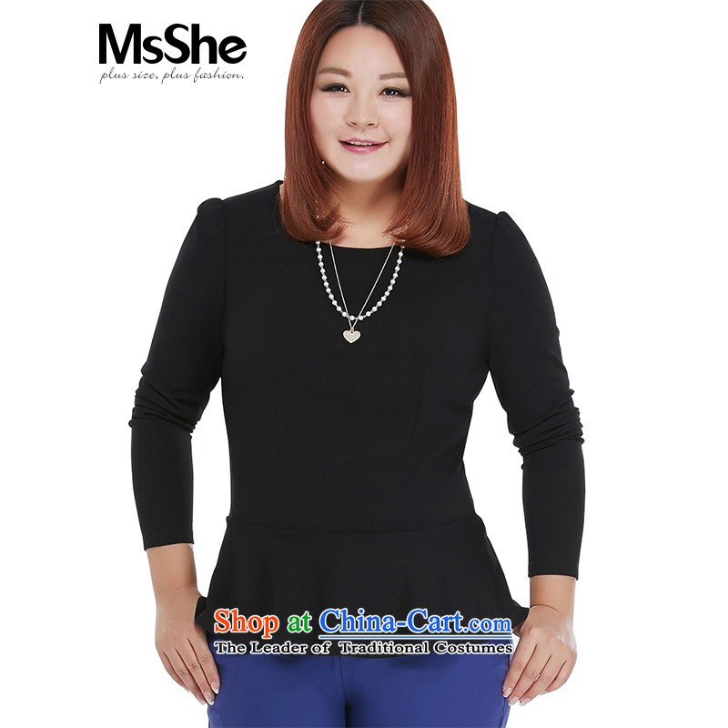 Msshe xl women 2015 new fall inside the Elastic knit wear long-sleeved shirt Sau San 200 catties 10549�L black