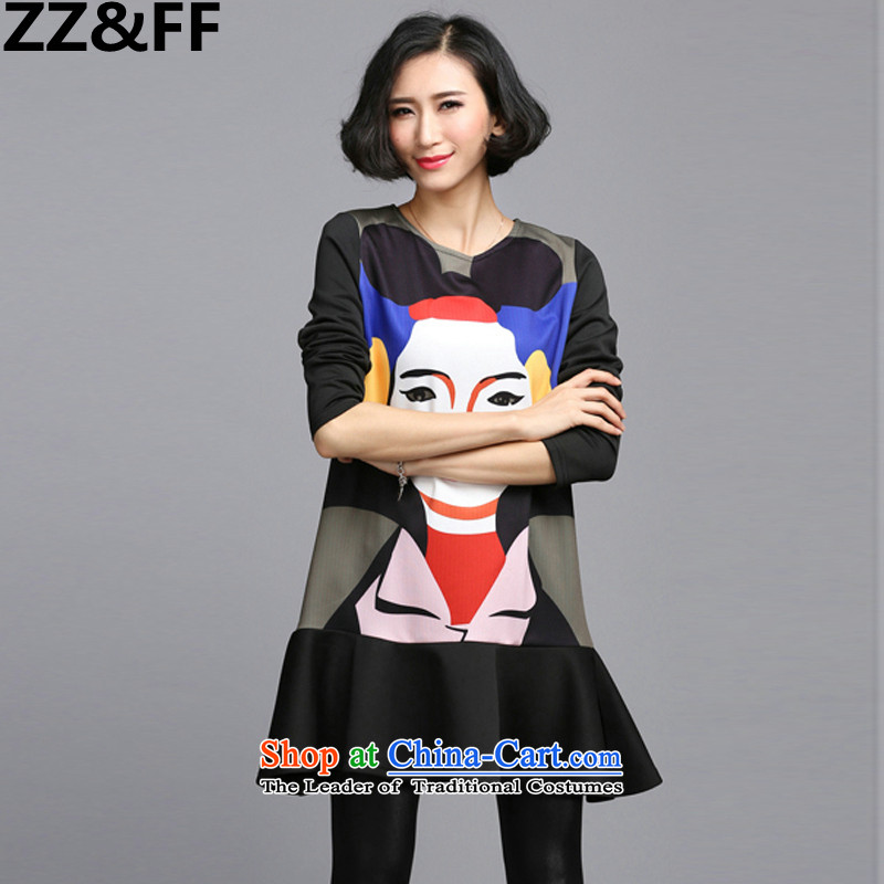 Install the latest Autumn 2015 Zz_ff_ Western Wind larger female thick MM to xl stamp long-sleeved dresses picture color燲XXL_ recommended cost between HKD150-170 catties_