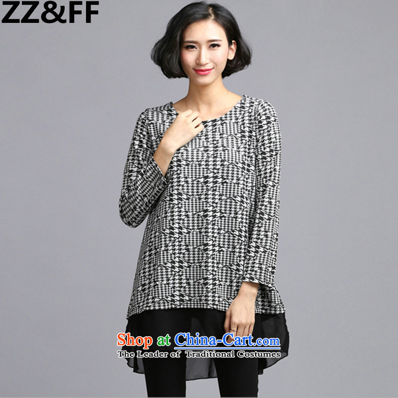 The new 2015 Autumn Zz_ff replace larger female chidori grid stamp long-sleeved dresses thick MM loose larger suits skirts white燲XXXXL_ recommendations 180-200 catties_